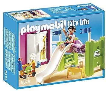 Playmobil Mansión Moderna de Lujo - Habitación de los niños con litera y tobogán, playset