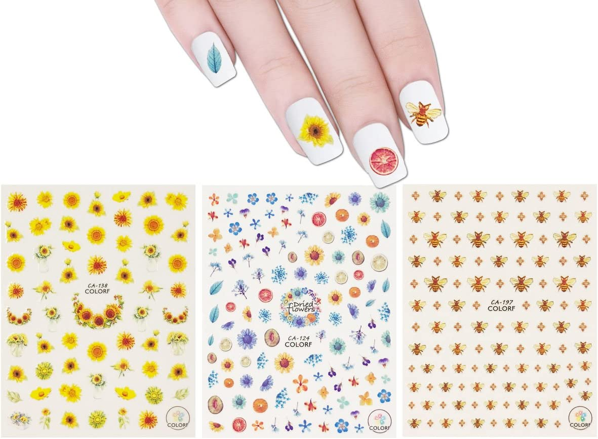 ALLYDREW 3 Sheets Buzzing Nature Nail Art Bees & Sunflowers Nail Stickers