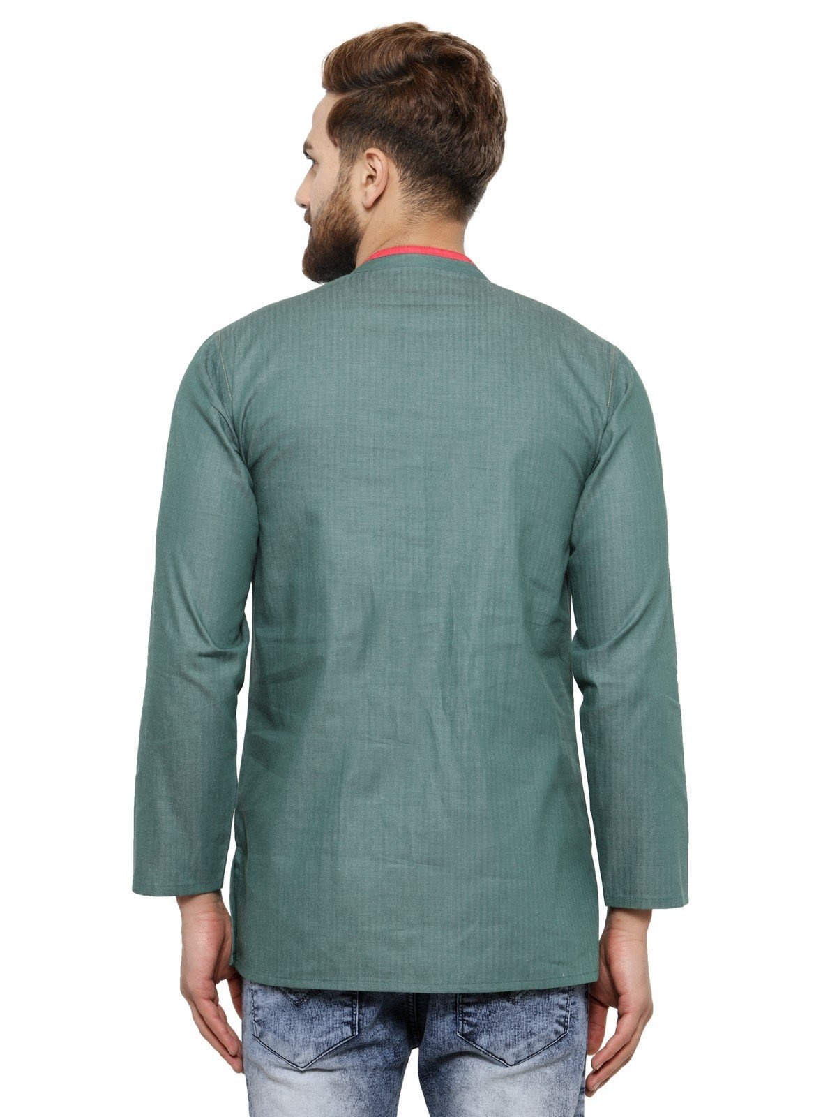 Apparel Men's Cotton Designer Short Kurta 42 Green by ARCH ELEMENTS (Image #4)