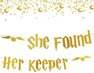 Gold Glitter Bachelorette Party Banner Decorations - Bridal Shower Hen Party Decorations Supplies, Wedding Party Decoration, Gold Glitter Banner | She Found Her Keeper