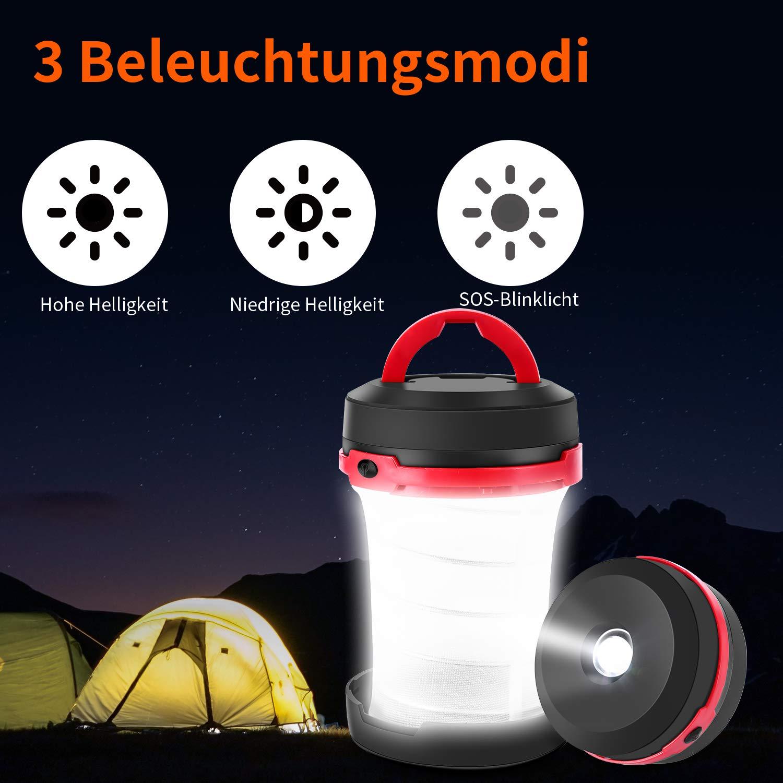 Menton Ezil 2 in 1 Faltbare Pop-Up Laterne LED Campinglampe Suchscheinwerfer mit Handkurbel Dynamo Akku Solarladung USB Aufladbar Taschenlampe SOS Blinklicht Notlicht Wasserdicht Nachtlicht