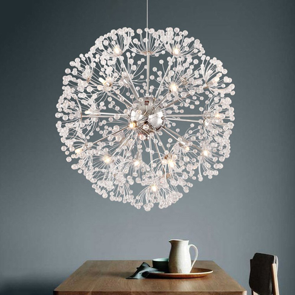 Amazon modern dandelion led crystal ball pendant light dining amazon modern dandelion led crystal ball pendant light dining room restaurant design lamp home decor chrome fixture g4 bulb home kitchen arubaitofo Images