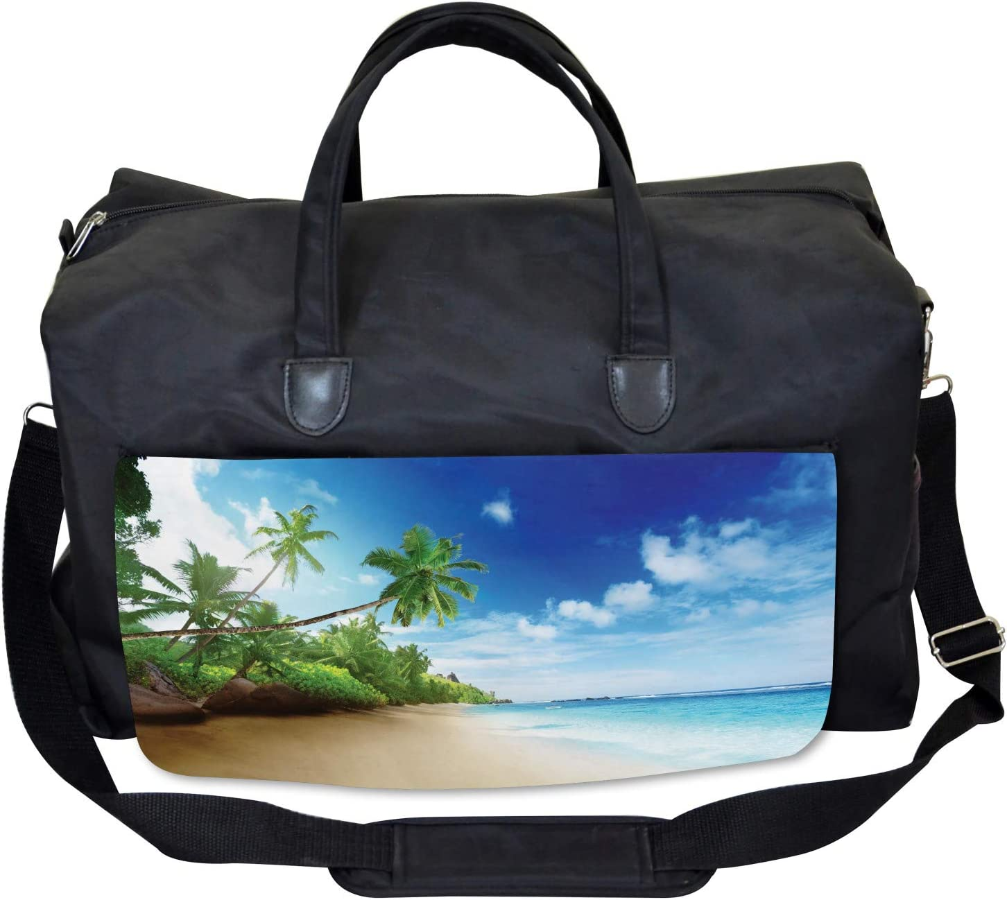 Ambesonne Outdoors Gym Bag Beach Sunset and Waves Large Weekender Carry-on