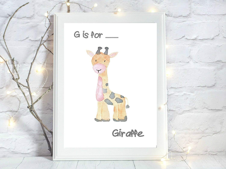 g is for giraffe animal gift a4 glossy print poster UNFRAMED wall art nursery gnp