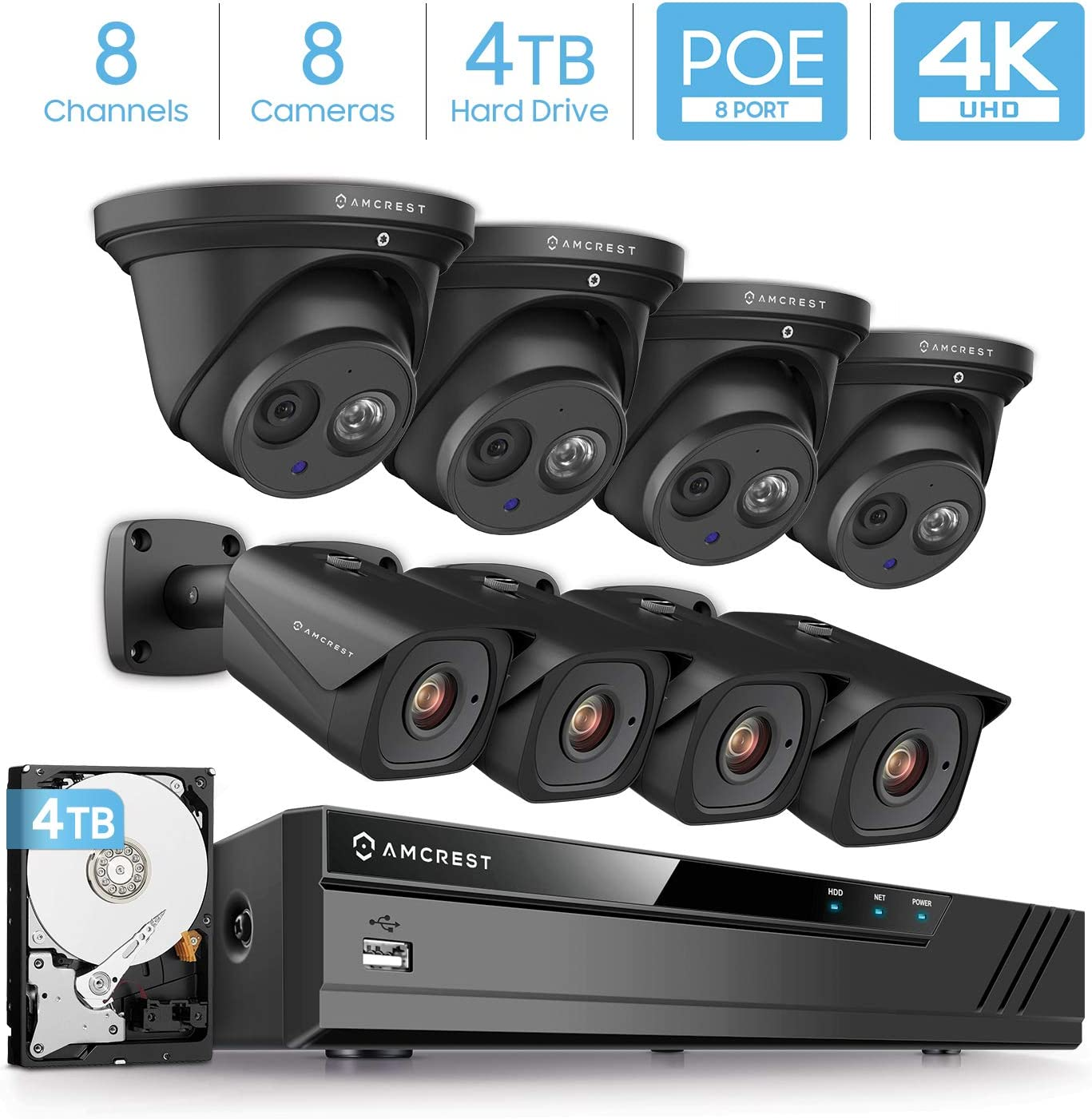 Amcrest 4K Security Camera System w 4K 8CH PoE NVR, 8 x 4K 8-Megapixel IP67 Weatherproof Metal Turret Dome Bullet POE IP Cameras, Pre-Installed 4TB Hard Drive, NV4108E-T2499EB4-2496EB4-4TB