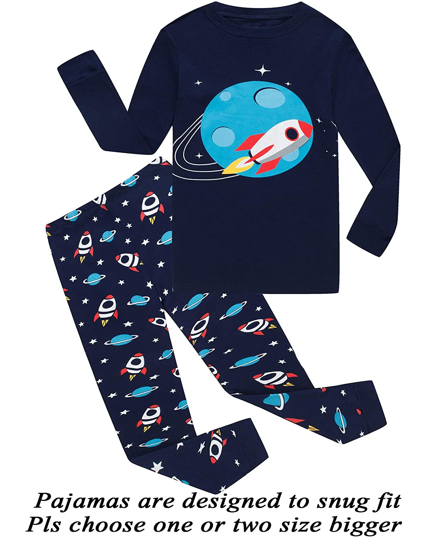 Little Boys Pajamas Dinosaur 100% Cotton Long Sleeve Pjs Toddler Clothes Kids Sleepwear Glow-bkbbk