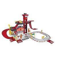 Majorette - 212050015 - Creatix Rescue Station Pompier - Circuit Voiture Miniature - 1 Hélicoptère Et 1 Voiture