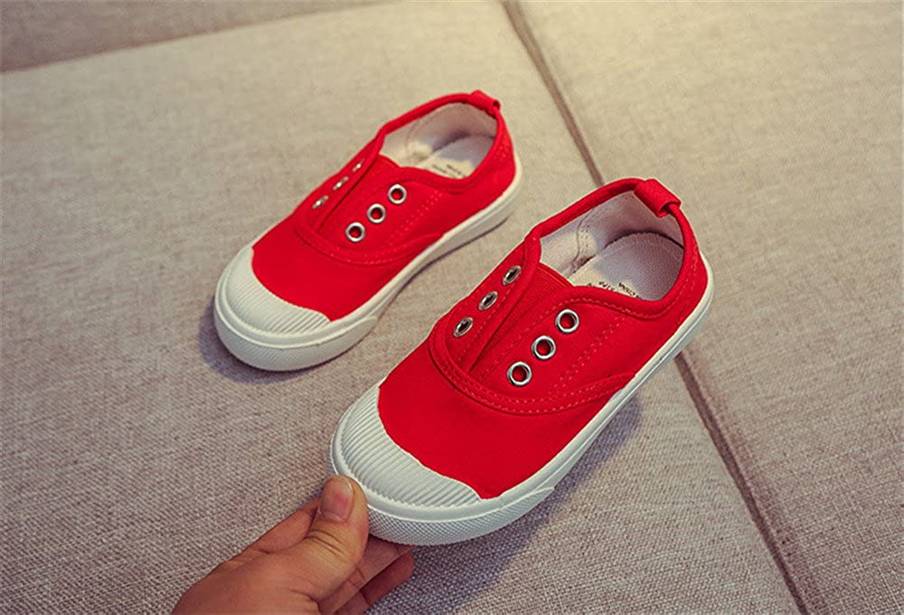 Toddler Cute Flat Canvas Light Weight Laceless Slip-on Sneakers Walking Tennis Shoes School Shoes