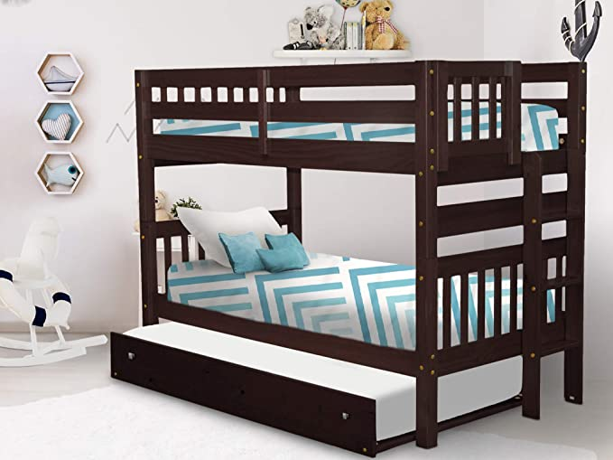 Amazon Com Bedz King Bunk Bed Twin Over Twin With End Ladder And A Twin Trundle Cappuccino Furniture Decor