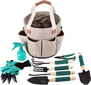 Garden Tools Set COLLAPSIBLE Version | Gardening Gifts | Gardening Tools Set | 9 Piece Garden Tool Set | Digging Claw Gardening Gloves Succulent Tool Set | Planting Tools | Gardening Supplies Basket