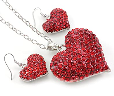 Amazon Com Valentine S Day Gift Red Heart Necklace Pendant Dangle