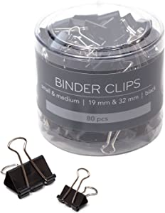 U Brands Binder Clips, Small and Medium Sizes, Black and Silver Steel, 80-Count (654U08-24), Small and Medium 80 Count