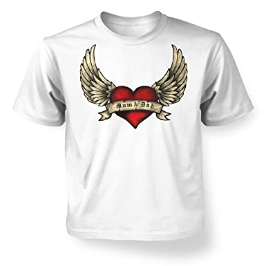 6efdffc9b Mum & Dad Tattoo Heart Kids T-shirt - White M (7-8): Amazon.co.uk ...