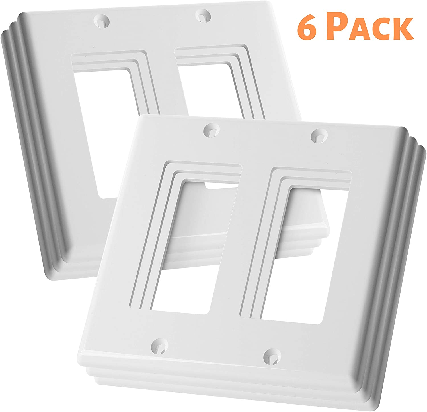Bates Double Light Switch Plate 2 Gang Wall Plate 6 Pack Double Outlet Cover Double Switch Plate Covers Light Switch Cover 2 Gang Double Wall Plate Electrical Outlet Cover Plates Plug Cover