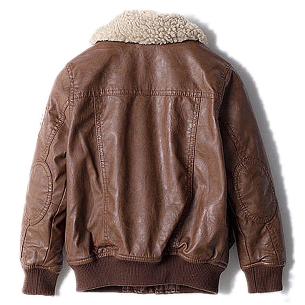 5b0511452 ZPW Kids PU Leather Flight Bomber Aviator Jacket with Removable Faux Fur  Collar