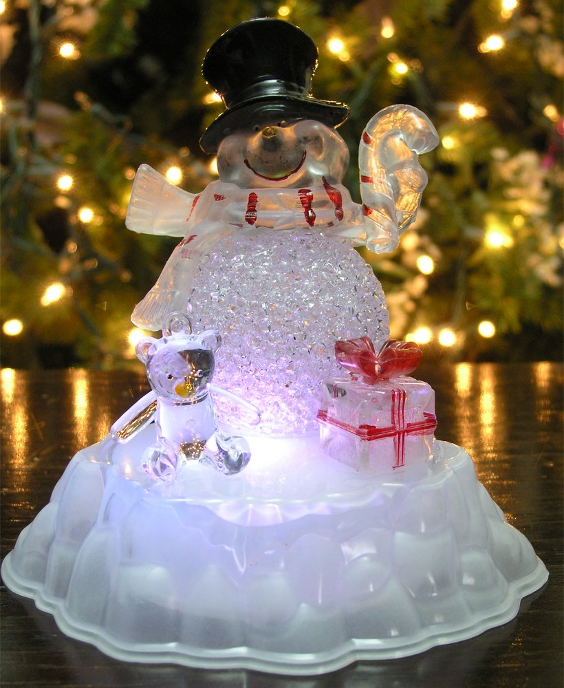 Snowman Figurine LED Acrylic Snowman Color Changing Lights
