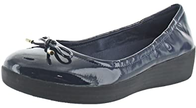 fe4a06aa9822 Image Unavailable. Image not available for. Colour  FitFlop Superbendy  Ballerina - Midnight Navy Patent (Man-Made) Womens Shoes 5 UK