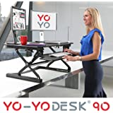 Yo-Yo Desk 90 (BLACK) - Best Selling Height-Adjustable Standing Desk [90cm Wide]. Superior sit-stand solution suitable for all workstations and standing desk workplaces.
