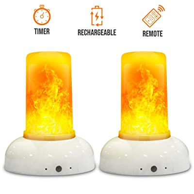 ABAMERICA LED Flame Effect Light with Timer and Remote - Rechargeable Battery Operated Torch Effect Toptable Lamp Fire Flame Effect flameless Lights (2PACK)