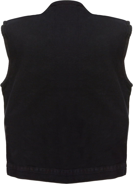 Black, XX-Large Milwaukee Mens Denim Club Vest with Hidden Snap and Zip