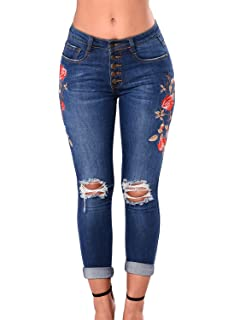 738048fe Lady Swain Women's Denim Rose Embroidered Destroyed Frayed Hem Skinny Jeans  Hole Jeans for Women