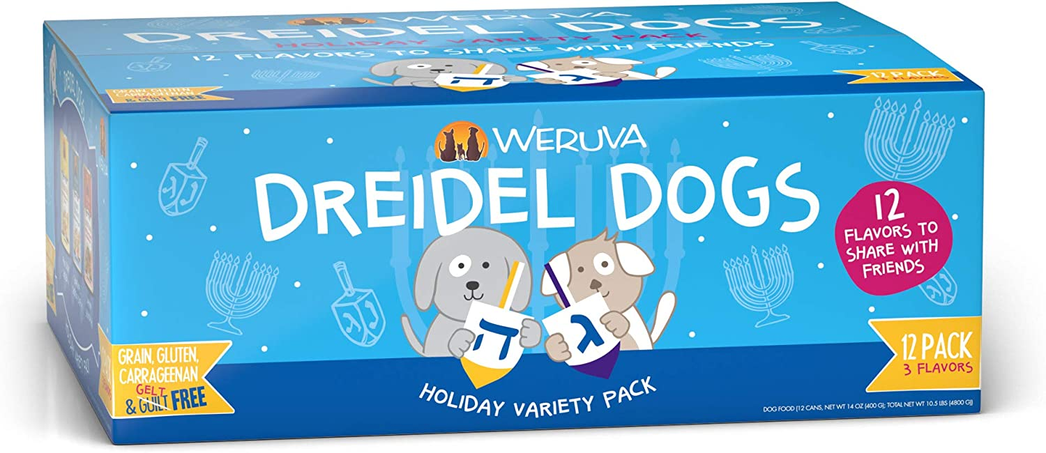 Weruva Classic Dog Food, Dreidel Dogs! Holiday Grain Free Canned Dog Food Variety Pack, 14oz Can (Pack of 12)