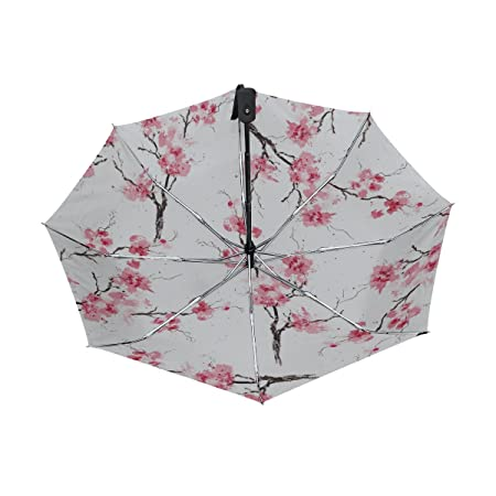 Amazon.com: Naanle Watercolor Pink Sakura Cherry Blossom Auto Open Close Foldable Travel Umbrella: Sports & Outdoors