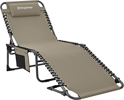Kingcamp Adjustable 4 Position Outdoor Chaise Lounge Chair Heavy Duty Camping Recliner Folding Cot With Pillow Pocket For Patio Garden Yard Lawn Sunbathing Beach Pool Supports 265lbs Sports Outdoors