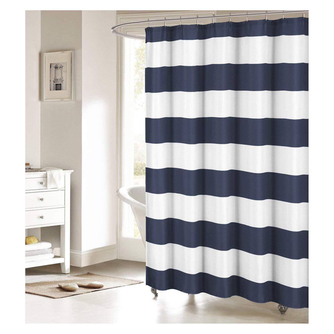 Amazon Fabric Shower Curtain Nautical Stripe Design Navy And White Home Kitchen
