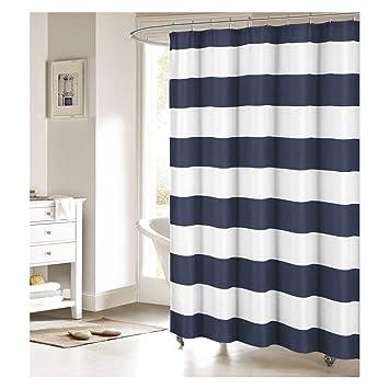 Fabric Shower Curtain Nautical Stripe Design Navy And White