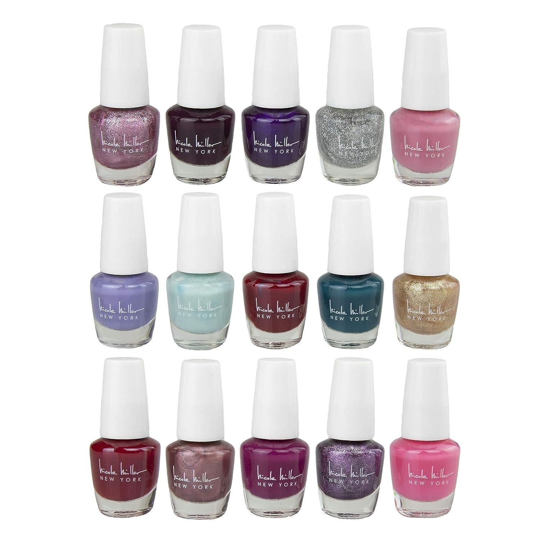 Amazon Com Nicole Miller Mini Nail Polish Set 15 Glossy And Trendy Colors Beauty