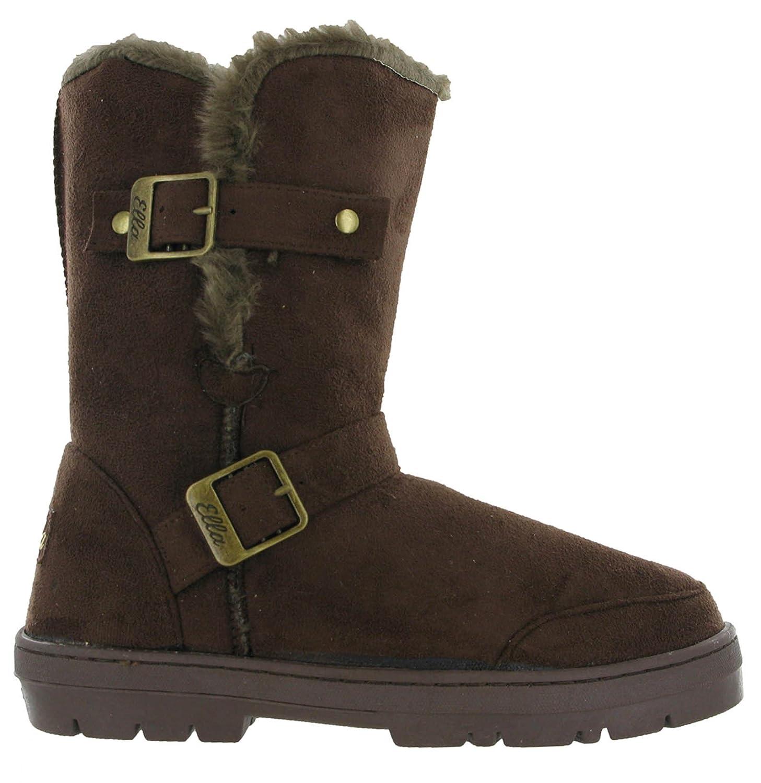 4c3785f91ec9f9 Ella Fur Lined Alex Twin Buckle Snugg Warm Flat Womens Winter Boots   Amazon.co.uk  Shoes   Bags