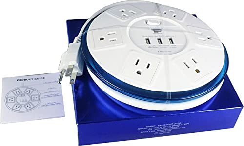 TP UFO Slim Design 6-Outlet Clear-Blue Round Power Center, 3 Quick Charging USB Ports, 4-Ft Heavy Duty Power Cord, Tabletop Surge Protector EMI- RFI-Filter for Conference Meeting Room UL Listed