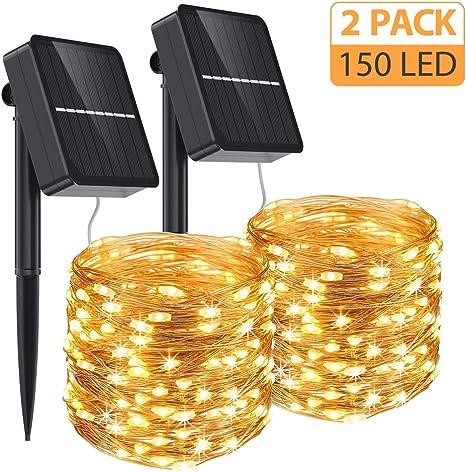Aerb Guirnalda Luz Exterior Solar, 2 Pack Cadena de Luces 15M 150 ...