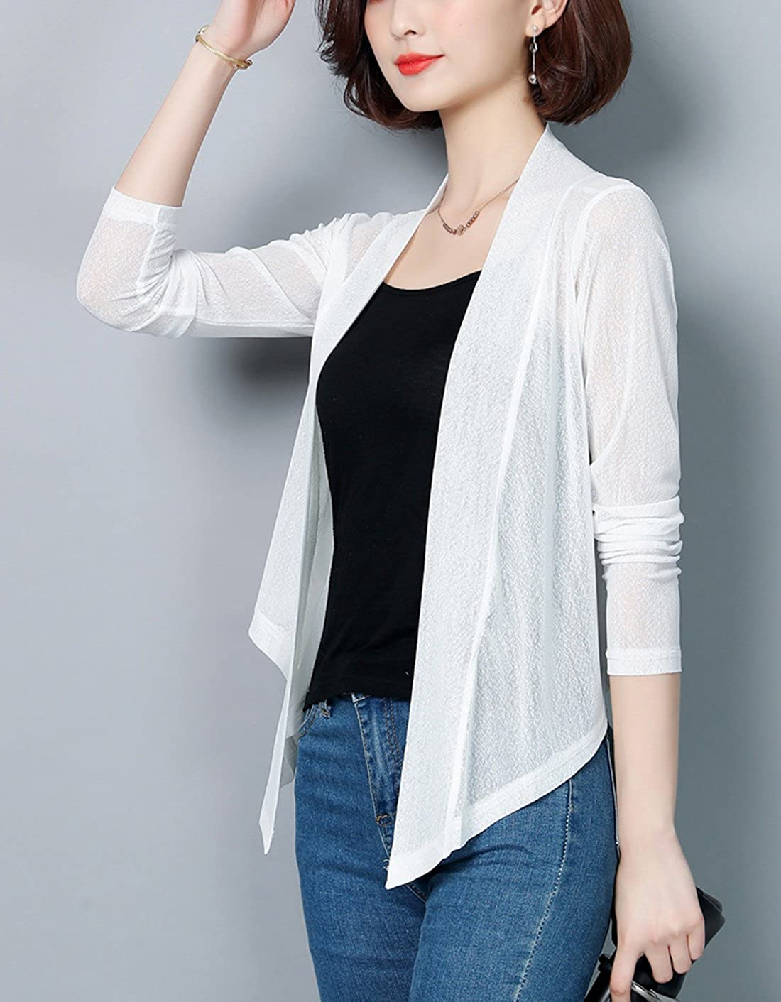 Womens Tie Front Long Sleeve Sheer Shrug Cropped Bolero Cardigan Sweatershirt