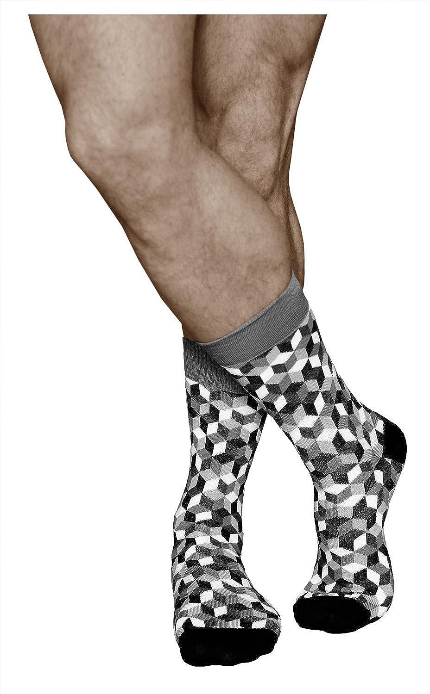 966fbdbd1ed vitsocks Chaussettes Fantaisie Homme Funky Motif Géométrique COTON DOUX