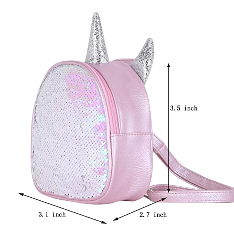 Amazon.com | IEFIEL Gilrs Glittery Sequins Cartoon Theme Backpack Mini Satchel Daypack Travel Shoulder Bag Pink One Size | Kids Backpacks