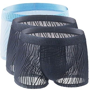 Ropa Interior Algodón Pack de 3 Sexy Bóxer 3 Piezas Transpirable Calzoncillos Seda de Hielo Encaje