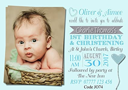 Image Unavailable Not Available For Colour Personalised Boys Joint Christening First Birthday Invitations