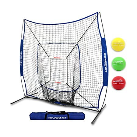 PowerNet DLX 2.0 System 7×7 Baseball Hitting Net Weighted Training Ball 3 Pack Strike Zone Swing Harder Throw Faster Build Pitch Hit Specific Muscle Groups Enhance Pitching Accuracy