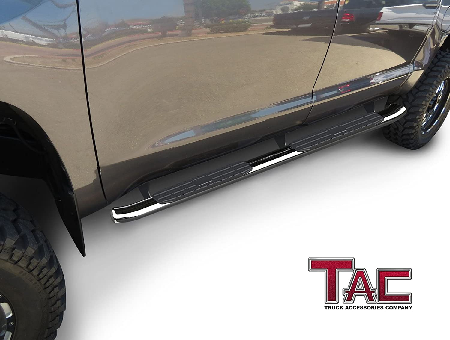 TAC 4.25 Side Steps Fit 2005-2019 Toyota Tacoma Double Cab Truck Pickup Oval Bend T304 Stainless Steel PNC Side Steps Nerf Bars Step Rails Running Boards Rock Panel Off Road Exterior Accessories 2PCS