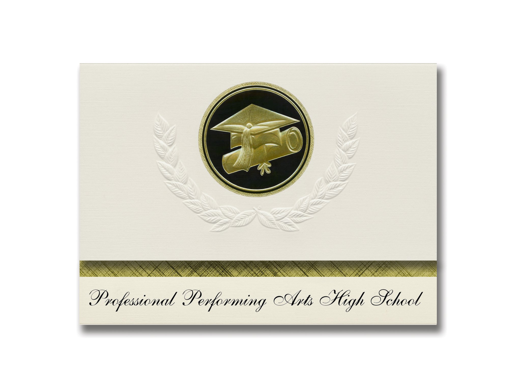 Signature Announcements Elite Performing Arts High School (New York, NY) Graduation Announcements, Presidential Basic Pack 25 Cap & Diploma Seal. Black & Gold.