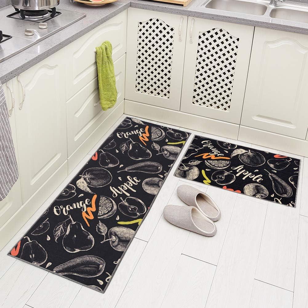 "Carvapet 2 Piece Non-Slip Kitchen Rug TPR Anti-Slip Backing Mat for Doorway Bathroom Runner Rug Set, Fruit Design (17""x48""+17""x24"")"