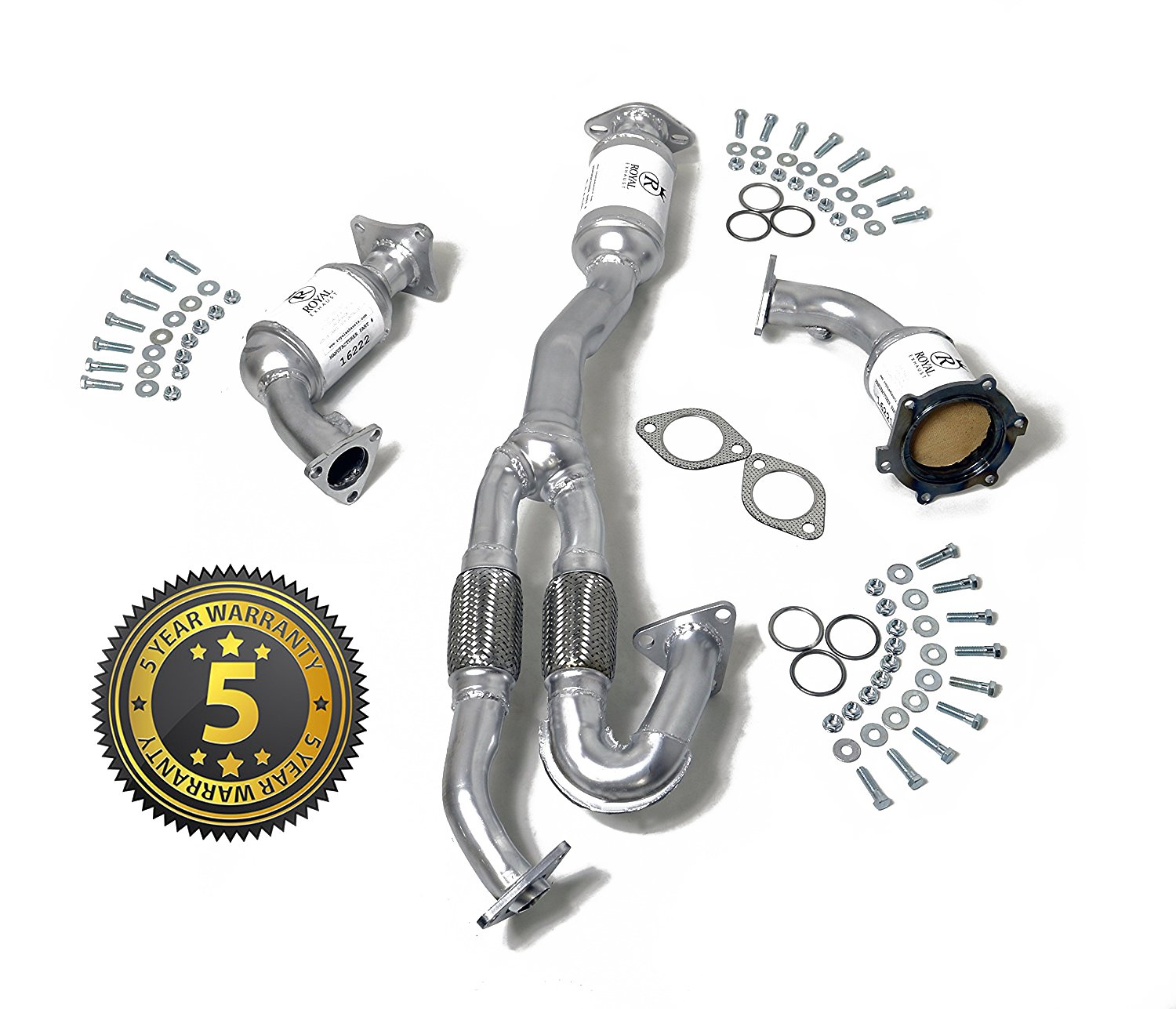 Amazon com royal exhaust 54498 nissan murano 3 5l flex pipe catalytic converter complete set obdii direct fit 2003 2007 5 year warranty gaskets included