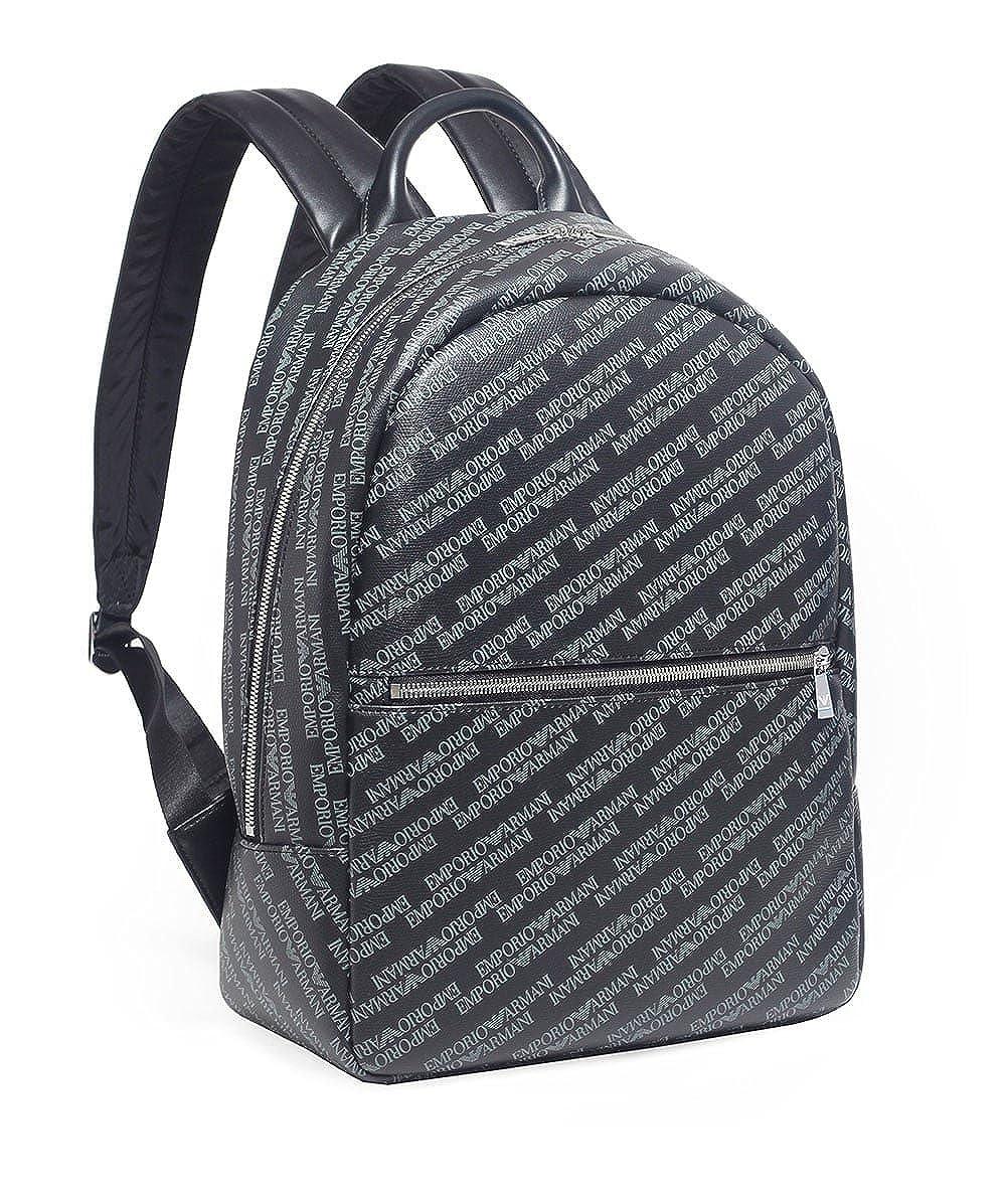 Emporio Armani Men s Tumbled Logo Backpack Blackboard One Size   Amazon.co.uk  Clothing 1cf0084400daf