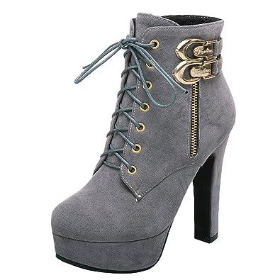 1f0dfe5e2de30e YE Damen High Heels Plateau Stiefeletten mit Schnürung Ankle Boots  Blockabsatz mit 12cm Absatz(Grau