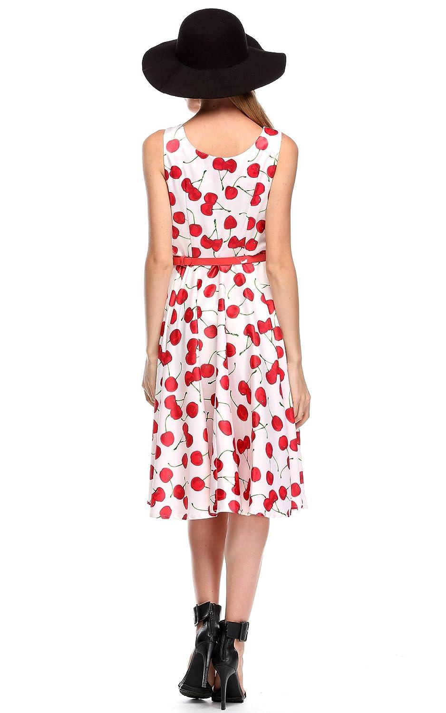 CRAVOG Damen Partykleid Sommer Kirsche Kleider mit Gürtel Cocktailkleid  Swing Abendkleid  Amazon.de  Bekleidung c04a4a7555