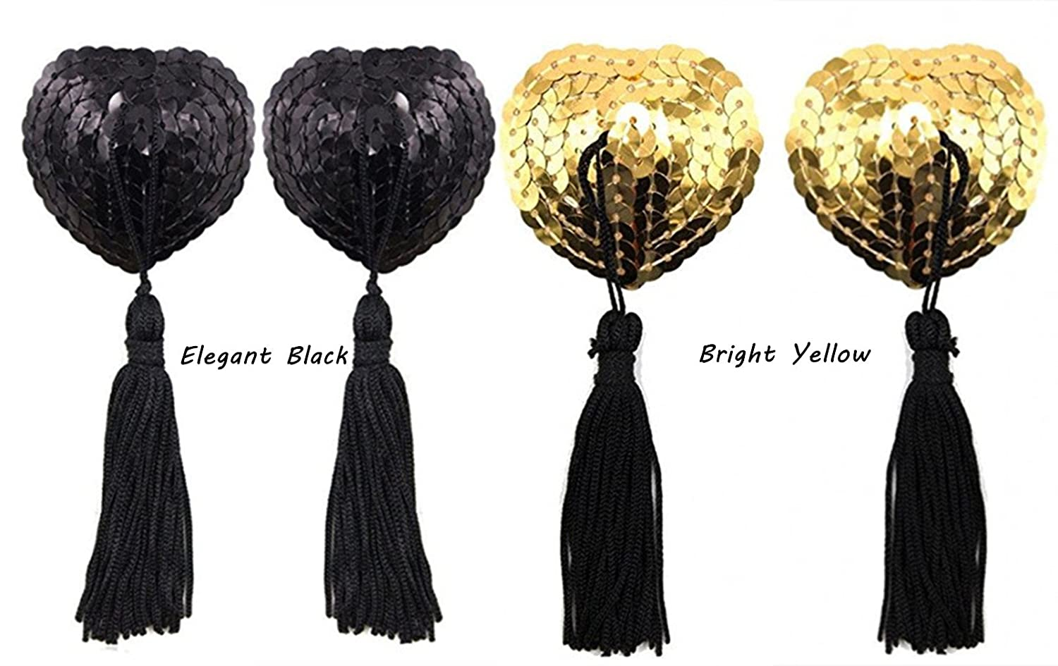 Meiliss Reusable Silicone Sequin Adhesive Nipple Cover Pasties Bra with Tassel (2 Pairs (Black+gold))