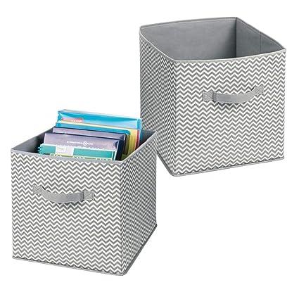 mDesign Juego de 2 cajas organizadoras con asas – Organizadores oficina grandes para útiles, carpetas