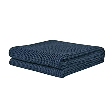 PHF Waffle Weave Blanket 100% Cotton Breathable Warm Right Weight for Winter and Summer King Size Navy Blue